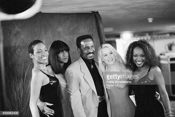 Ike Turner vocals and guitar poses with the Ikettes at the Paradiso on May 17th 1995 in Amsterdam the Netherlands