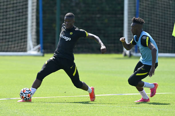 Ike Ugbo and Callum Hudson-Odoi of Chelsea during a training session at Chelsea Training Ground on July 19, 2021 in Cobham, England.