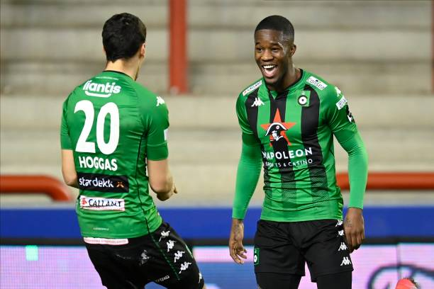 Ike Ugbo forward of Cercle Brugge celebrates scoring the opening goal with teammate Kevin Hoggas midfielder of Cercle Brugge during the Jupiler Pro...