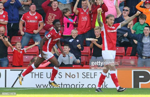 Ike Ugbo of Barnsley celebrates after he scores the opening goal during the Sky Bet Championship match between Barnsley and Sunderland at Oakwell...