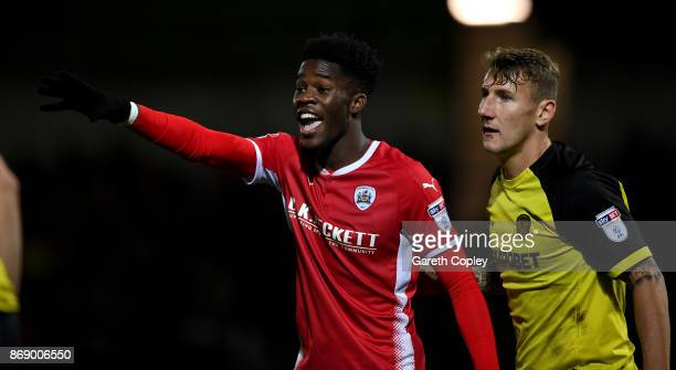 Ike Ugbo of Barnsley during the Sky Bet Championship match between Burton Albion and Barnsley at Pirelli Stadium on October 31 2017 in...