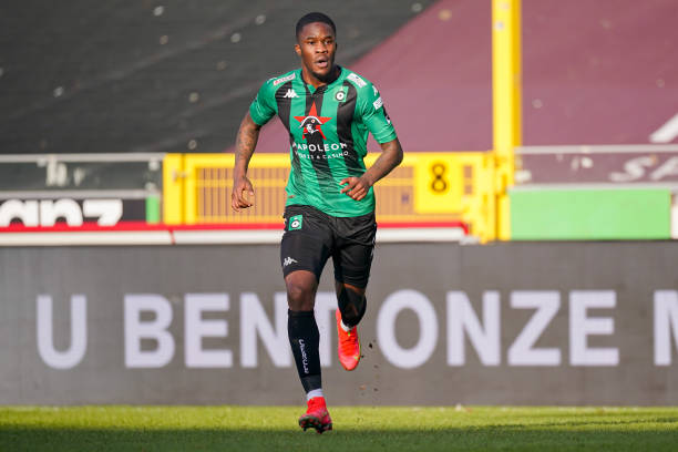 Ike Ugbo of Cercle Brugge during the Pro League match between Cercle Brugge and Waasland Beveren at Jan Breydelstadium on February 27, 2021 in...