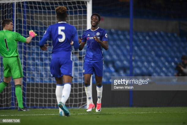 Ike Ugbo of Chelsea celebrates his 1st goal during a Premier League 2 match between Chelsea and Sunderland at Stamford Bridge on April 7 2017 in...