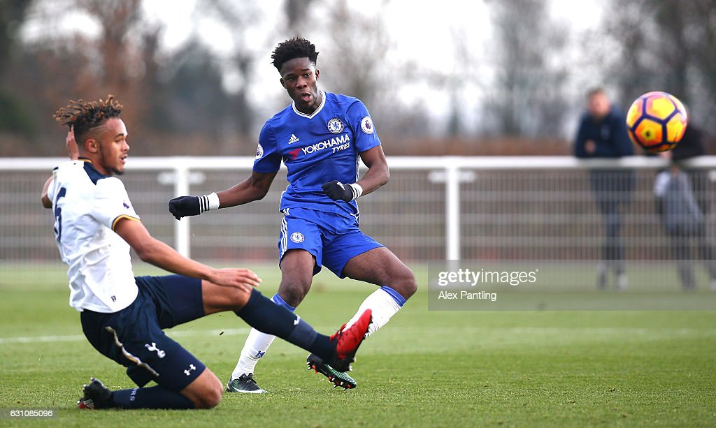 Ike Ugbo of Chelsea scores a goal which is later disallowed for offside during the Premier League 2 match between Tottenham Hotspur and Chelsea at Tottenham Hotspur Training Centre on January 6, 2017 in Enfield, England.