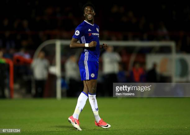 Ike Ugbo of Chesea celebrates after scoring his team's second goal of the game during the Premier League 2 match between Chelsea and Everton on April...