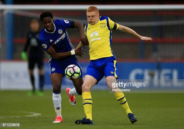 Ike Ugbo of Chesea holds off pressure from Morgan Feeney of Everton during the Premier League 2 match between Chelsea and Everton on April 21 2017 in...