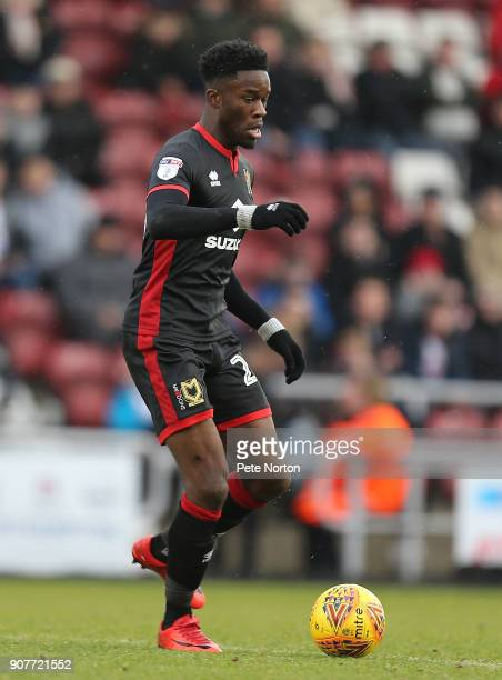 Ike Ugbo of Milton Keynes Dons in action during the Sky Bet League One match between Northampton Town and Milton Keynes Dons at Sixfields on January...