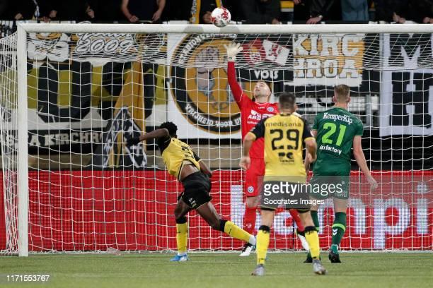 Ike Ugbo of Roda JC scores goal during the Dutch Keuken Kampioen Divisie match between Roda JC v De Graafschap at the Parkstad Limburg Stadium on...