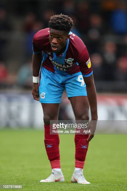 Ike Ugbo of Scunthorpe United during the Sky Bet League One match between Scunthorpe United and Shrewsbury Town at Glanford Park on September 22 2018...