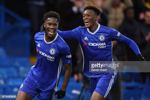 Ike Ugo of Chelsea celebrates scoring his sides second goal with Callum Hudson of Chelsea during the FA Youth Cup Final, second leg between Chelsea...