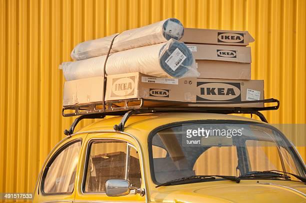 Ikea Boxes at the top of Car, Bornova, Izmir, Turkey