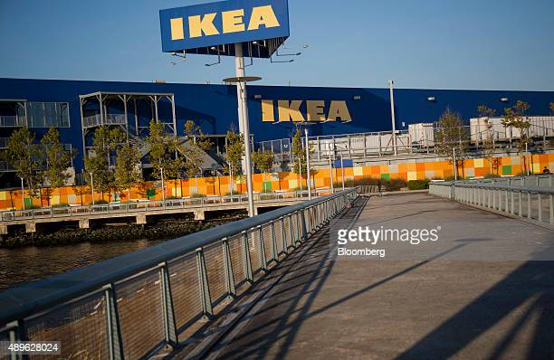 Ikea signage is displayed on the back of their store in the Brooklyn borough of New York US on Saturday Sept 19 2015 The US Census Bureau is...