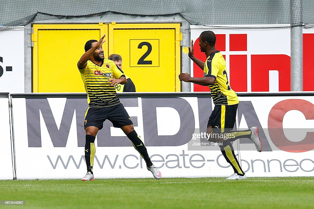 Ikechi Anya and Odion Ighalo of Watford celebration their second goal during the pre-season friendly match between SC Paderborn and Watford FC at Benteler Arena on July 19, 2015 in Paderborn, Germany.