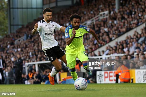 Ikechi Anya of Derby County gets past Fulham's Ryan Fredericks during the Sky Bet Championship Play Off Semi Final Second Leg on May 14 2018 at...