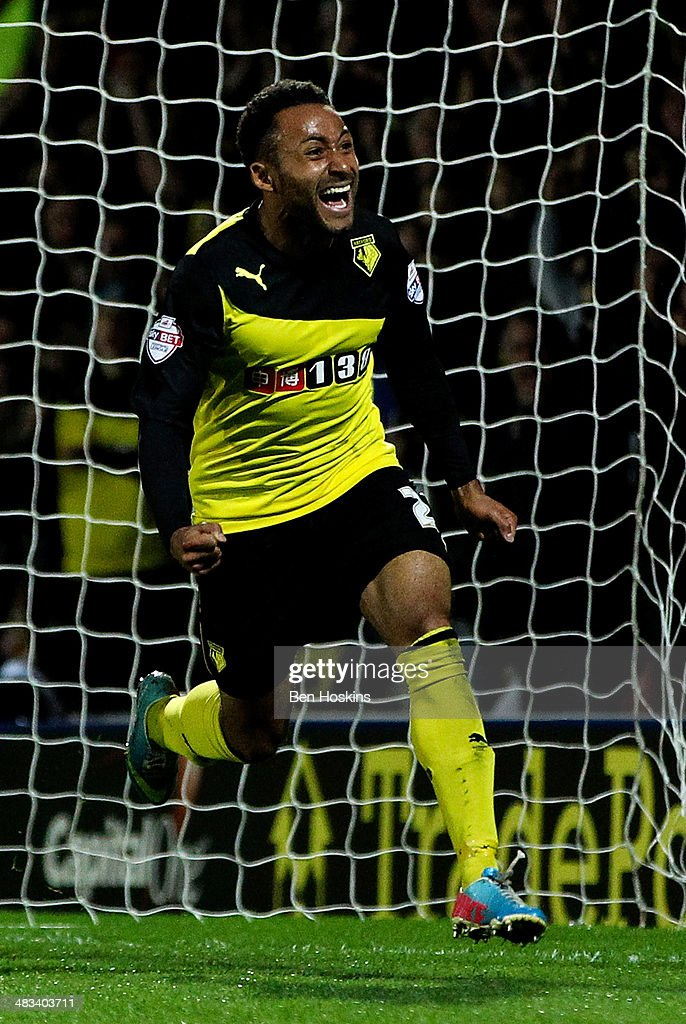 Ikechi Anya of Watford celebrates scoring the second goal of the game during the Sky Bet Championship match between Watford and Leeds United at Vicarage Road on April 8, 2014 in Watford, England.