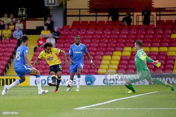 Ikechi Anya of Watford shoots during the EFL Cup match between Watford and Gillingham at Vicarage Road on August 23 2016 in Watford England