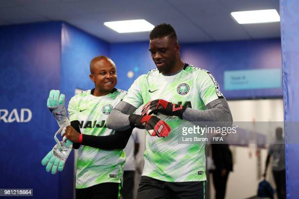 Ikechukwu Ezenwa and Daniel Akpeyi of Nigeria get ready to warm up prior to the 2018 FIFA World Cup Russia group D match between Nigeria and Iceland...