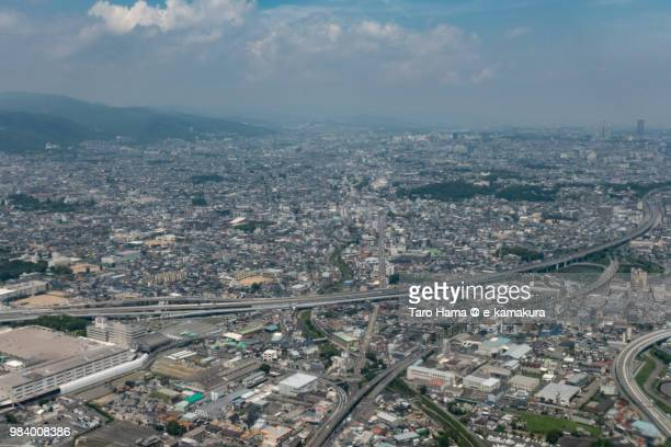 ikeda city in osaka prefecture in japan daytime aerial view from airplane - fukui prefecture - fotografias e filmes do acervo