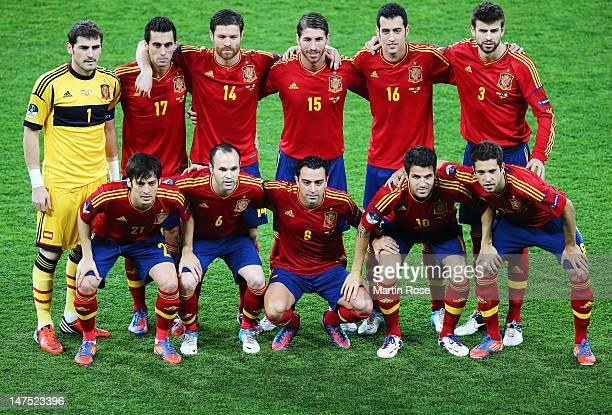 Iker Casillas, Alvaro Arbeloa, Xabi Alonso, Sergio Ramos, Sergio Busquets and Gerard Pique, David Silva, Andres Iniesta, Xavi Hernandez, Cesc...