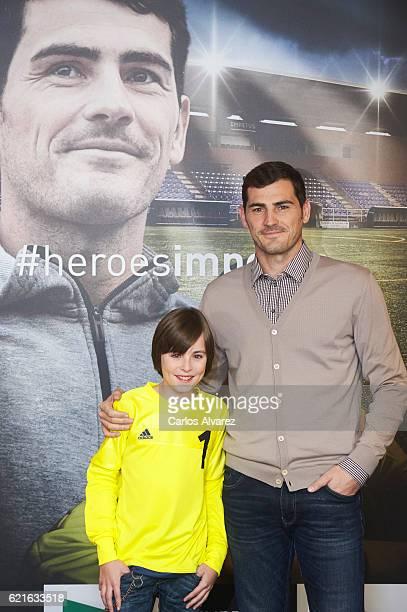 Iker Casillas and Hugo present his Short Film 'Heroes Terrenales' at Corte Ingles Castellana store on November 7 2016 in Madrid Spain