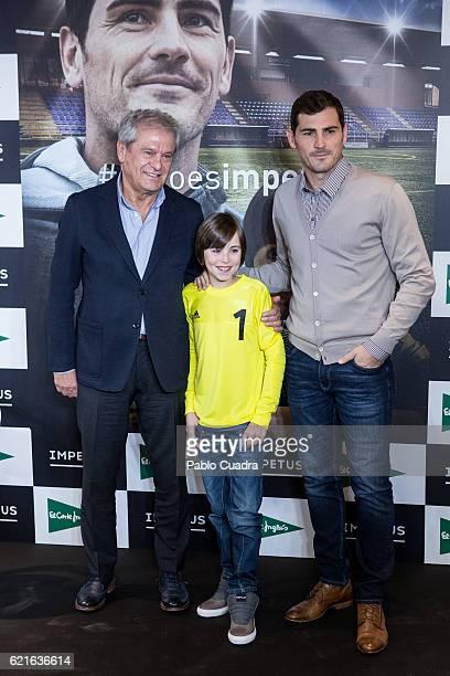 Iker Casillas and Hugo present their short film 'Heroes Terrenales' at 'El Corte Ingles' Store on November 7 2016 in Madrid Spain