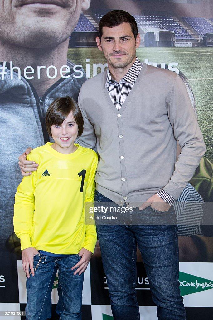 Iker Casillas (R) and Hugo (L) present their short film 'Heroes Terrenales' at 'El Corte Ingles' Store on November 7, 2016 in Madrid, Spain.