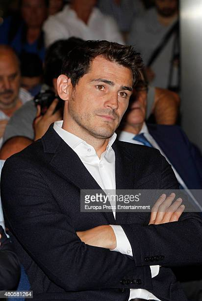 Iker Casillas attends a press conference to announce that Iker Casillas will be leaving Real Madrid football team on July 13 2015 in Madrid Spain