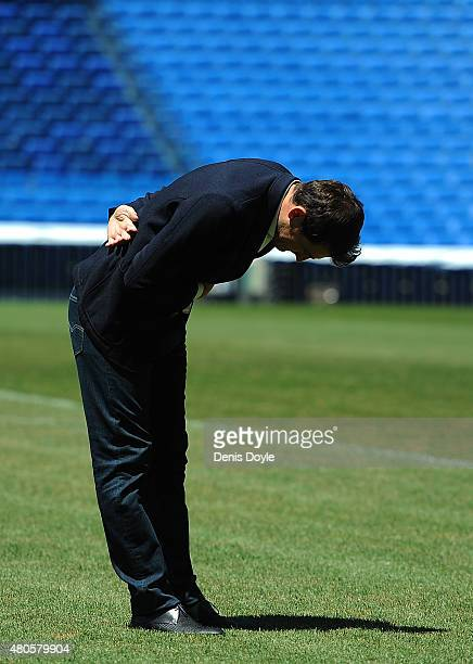 Iker Casillas bows to fans at the Santiago Bernabeu stadium after attending a press conference to announce that he will be leaving Real Madrid on...