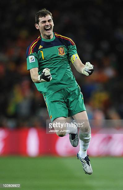 Iker Casillas, captain of Spain, celebrates the late goal by Andres Iniesta during the 2010 FIFA World Cup South Africa Final match between...
