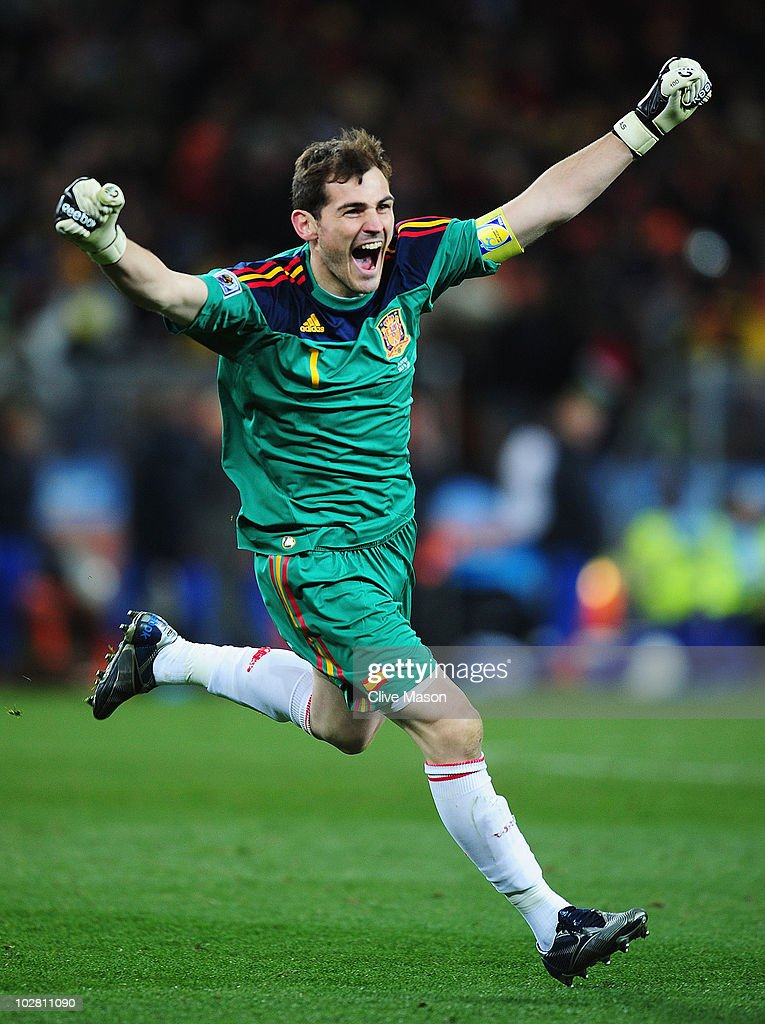 Iker Casillas, captain of Spain, celebrates the late goal by Andres Iniesta during the 2010 FIFA World Cup South Africa Final match between Netherlands and Spain at Soccer City Stadium on July 11, 2010 in Johannesburg, South Africa.