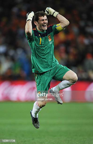 Iker Casillas captain of Spain celebrates the late goal by Andres Iniesta during the 2010 FIFA World Cup South Africa Final match between Netherlands...