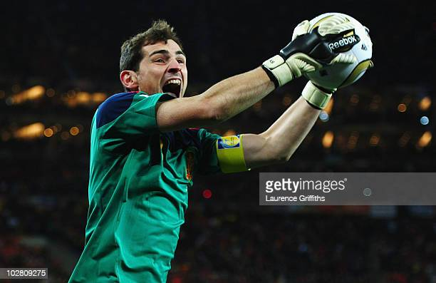 Iker Casillas captain of Spain celebrates victory at the final whistle during the 2010 FIFA World Cup South Africa Final match between Netherlands...
