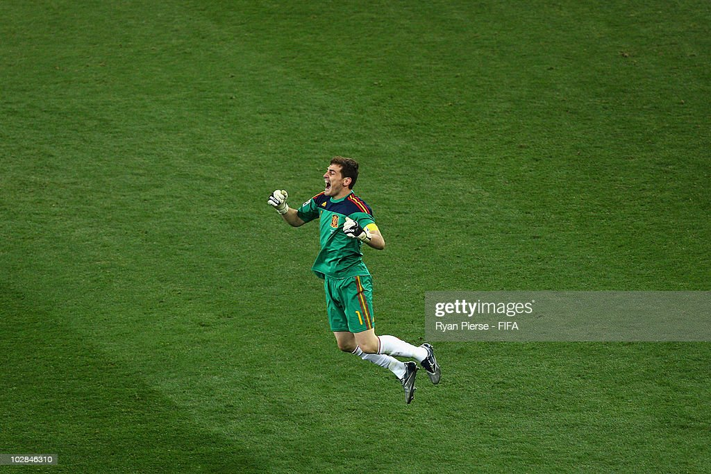 Iker Casillas, captain of Spain, celebrates winning the World Cup during the 2010 FIFA World Cup South Africa Final match between Netherlands and Spain at Soccer City Stadium on July 11, 2010 in Johannesburg, South Africa.