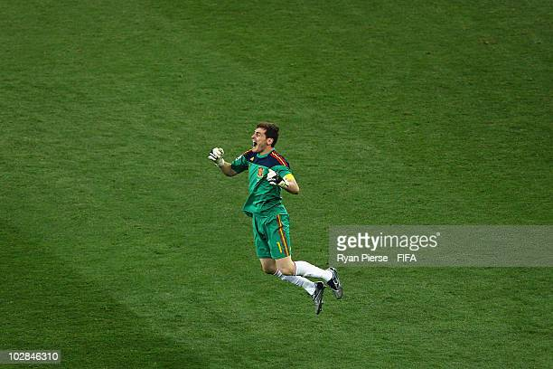 Iker Casillas captain of Spain celebrates winning the World Cup during the 2010 FIFA World Cup South Africa Final match between Netherlands and Spain...