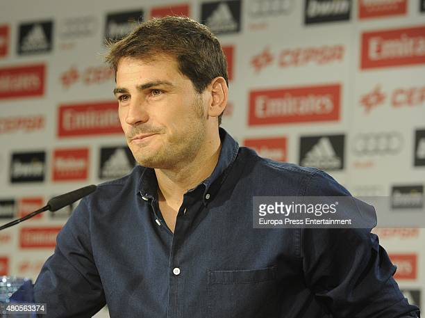 Iker Casillas cries during a farewell press conference at Estadio Santiago Bernabeu on July 12 2015 in Madrid Spain the Spanish goalkeeper leaves...