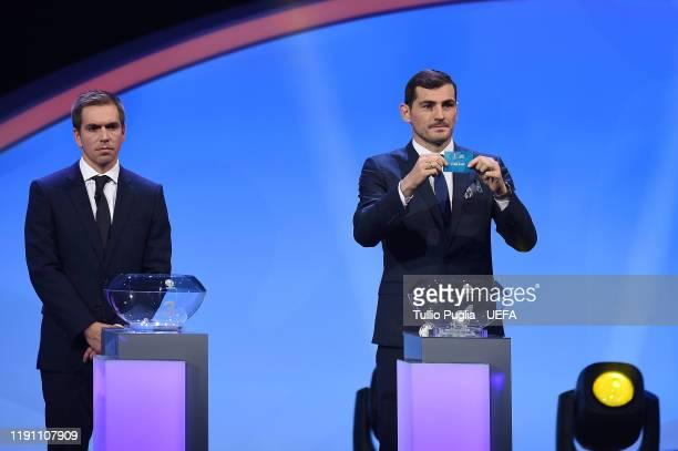 Iker Casillas draws Denmark during the UEFA Euro 2020 Final Draw Ceremony on November 30 2019 in Bucharest Romania