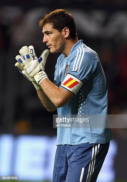 Iker Casillas Feranandez of Spain looks on during the International Friendly match between Denmark and Spain on August 20 2008 at the Parken Stadium...