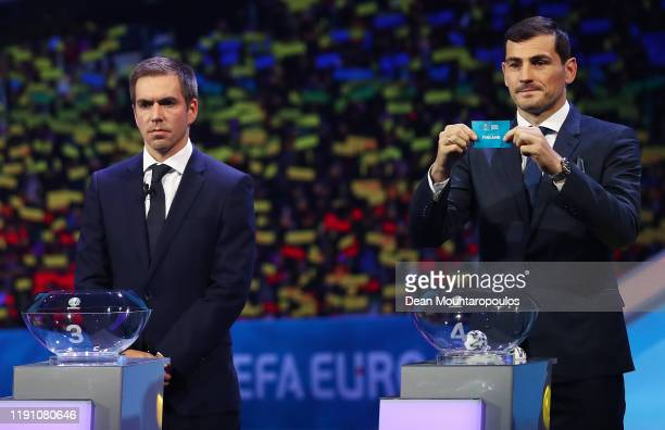 Iker Casillas Former Spain player draws Finland from the pot during the UEFA Euro 2020 Final Draw Ceremony at the Romexpo on November 30 2019 in...