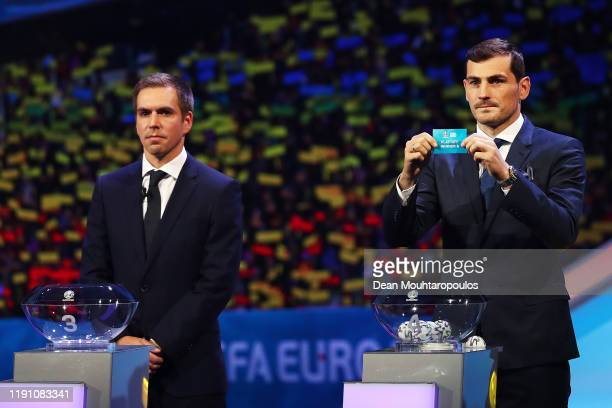 Iker Casillas Former Spain player draws PlayOff Winner A from the pot during the UEFA Euro 2020 Final Draw Ceremony at the Romexpo on November 30...