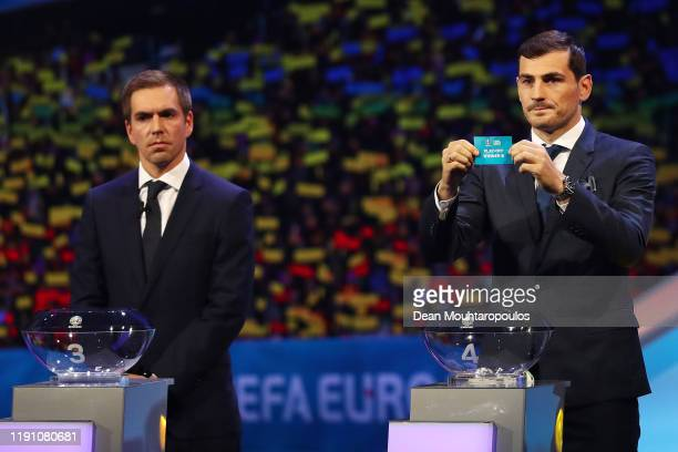 Iker Casillas Former Spain player draws PlayOff Winner B from the pot during the UEFA Euro 2020 Final Draw Ceremony at the Romexpo on November 30...
