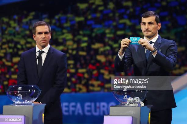 Iker Casillas Former Spain player draws PlayOff Winner D from the pot during the UEFA Euro 2020 Final Draw Ceremony at the Romexpo on November 30...