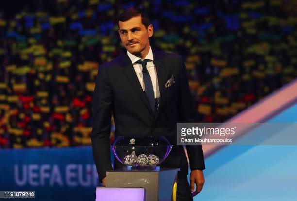 Iker Casillas, Former Spain player looks on from the stage during the UEFA Euro 2020 Final Draw Ceremony at the Romexpo on November 30, 2019 in...