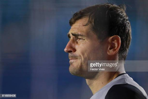 Iker Casillas goalkeeper of Porto looks on during a match between Cruz Azul and Porto as part of Super Copa Tecate at Azul Stadium on July 17 2017 in...