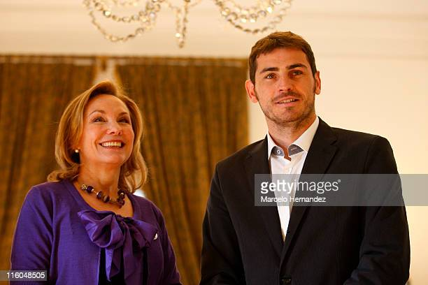 Iker Casillas goalkeeper of Spain and Real Madrid poses for photographers with chilean first lady Cecilia Morel on June 14 2011 at la Moneda...