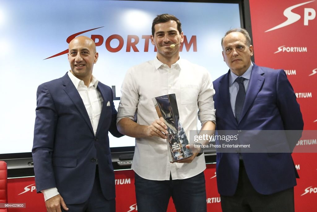 Iker Casillas (C) is presented as Sportium Ambassador for FIFA World Cup 2018 on May 30, 2018 in Madrid, Spain.