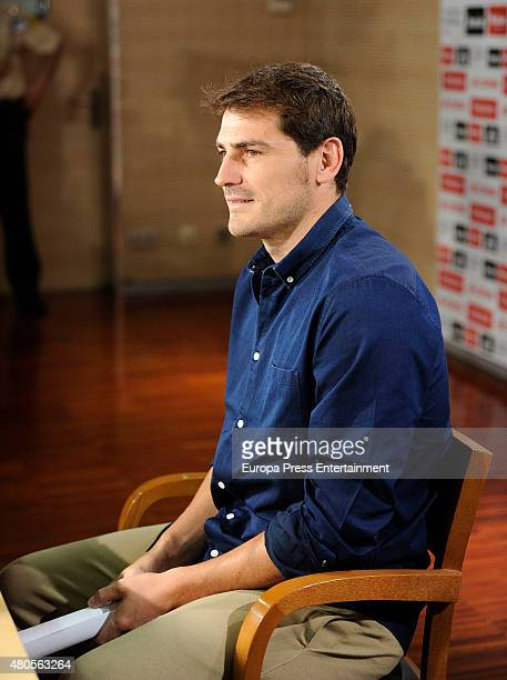 Iker Casillas is seen during a farewell press conference at Estadio Santiago Bernabeu on July 12 2015 in Madrid Spain the Spanish goalkeeper leaves...