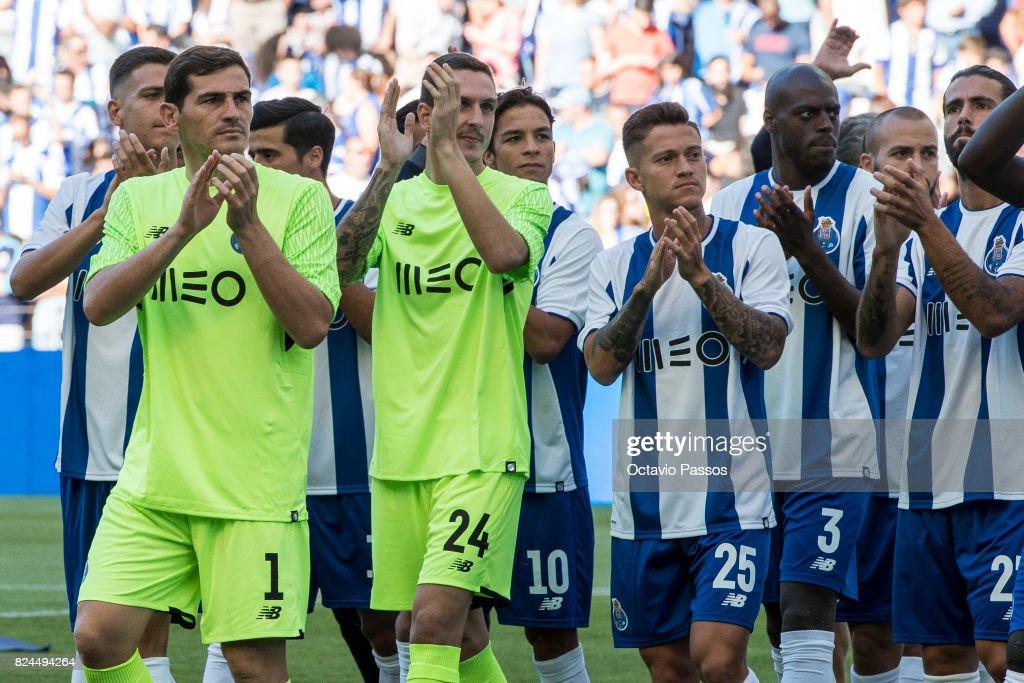 Iker Casillas, Joao Costa, Otavio of FC Porto during the team presentation prior to the pre-season friendly match between FC Porto and RC Deportivo La Coruna at Estadio do Dragao on July 30, 2017 in Porto, Portugal.