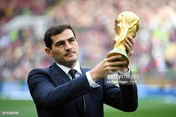 Iker Casillas lifts the World Cup trophy prior to the 2018 FIFA World Cup Russia Group A match between Russia and Saudi Arabia at Luzhniki Stadium on...