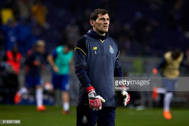 Iker Casillas of FC Porto looks on prior to the UEFA Champions League Round of 16 First Leg match between FC Porto and Liverpool FC at Estadio do...