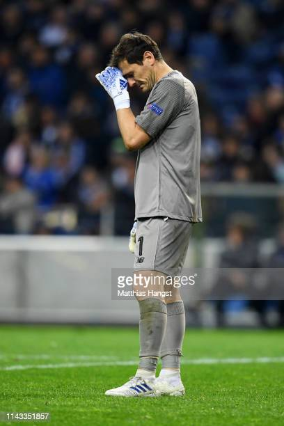 Iker Casillas of FC Porto reacts during the UEFA Champions League Quarter Final second leg match between Porto and Liverpool at Estadio do Dragao on...